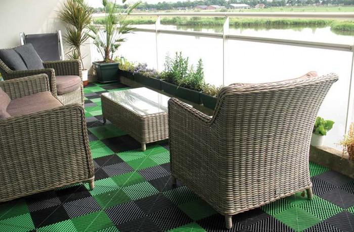 Balkontegels Groen en Zwart